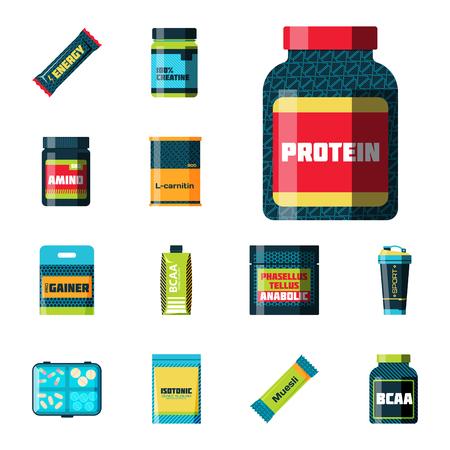 Sport nutrition healthy food vector illustration.