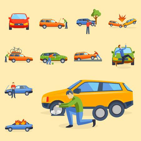 車のクラッシュの衝突;交通安全。自動車緊急災害と災害;スピード修理交通図。  イラスト・ベクター素材