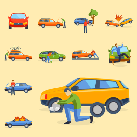 Car crash collision; traffic safety; automobile emergency disaster and emergency disaster; speed repair transport illustration.