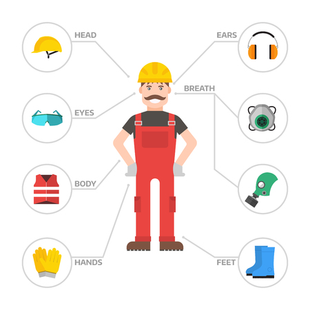 Safety industrial gear kit man tools flat vector illustration. Industrial safety body protection worker equipment elements factory engineer clothing.
