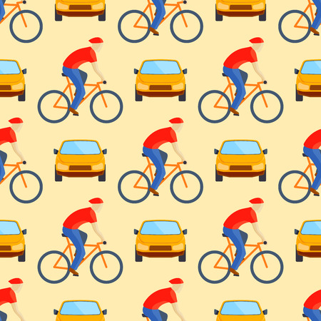 Flat car vehicle type and person riding bicycle