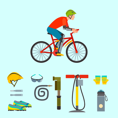 Biking sport equipments icon Illustration