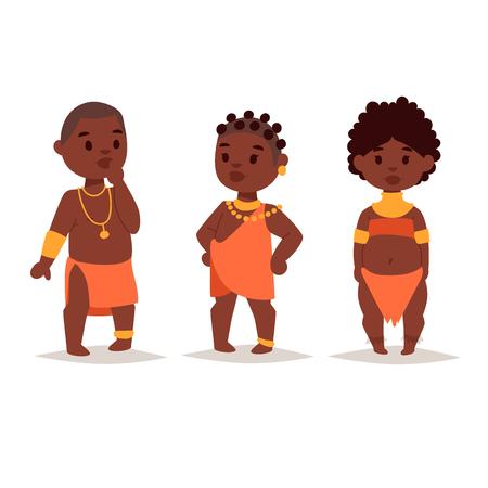 전통적인 의류에 마사이족 아프리카 사람들 일러스트