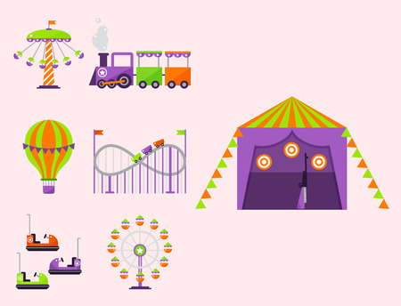 Carousels attraction vector illustration.