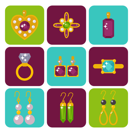 Vector jewelry items illustration