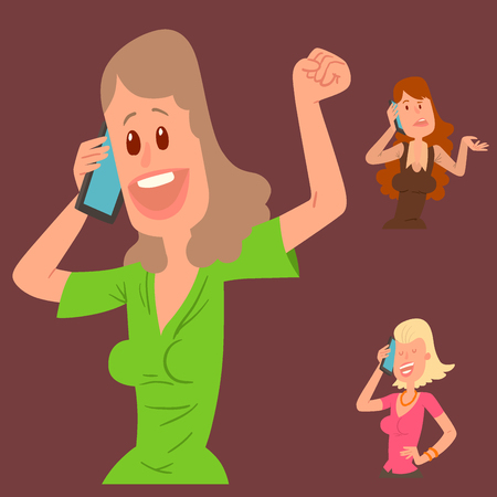 Successful young girl character talking his cell phone vector illustration