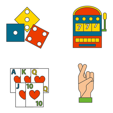 Casino game icons poker gambler symbols blackjack winning roulette joker slotbvector illustration. Illustration