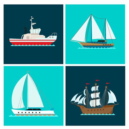 Een reeks van mariene boot vectorillustratie.