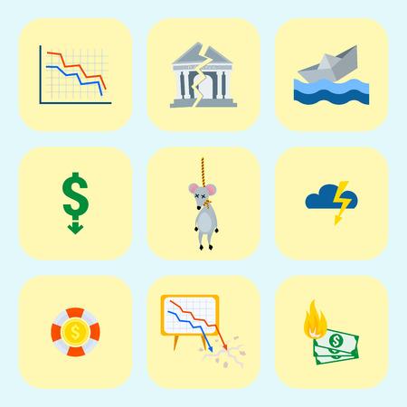 Krisensymbole stellen Ikone Vektorillustration ein. Standard-Bild - 87802181