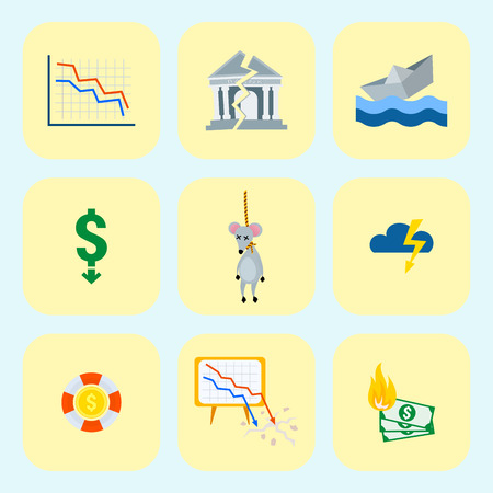 Crisis symbols set icon vector illustration.
