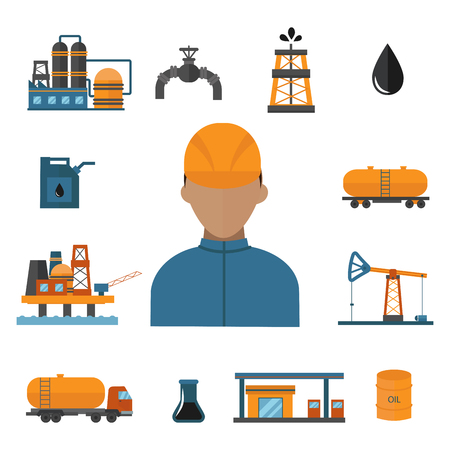 Mineral oil petroleum extraction production vector icons illustration.