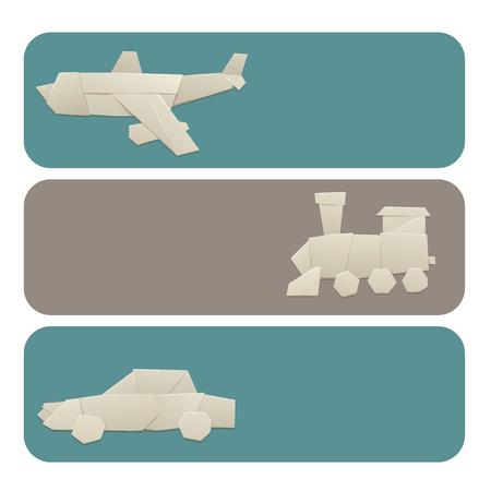 Origami logistic paper transport banners vector illustration. Illustration