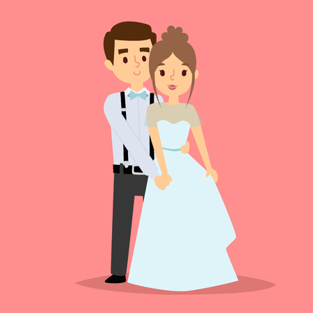 Wedding couple in white dress and man in suit bride vector illustration.