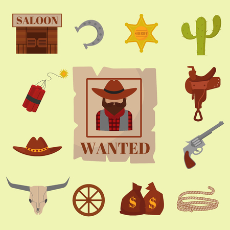 Vintage western cowboys icon set vector illustration.