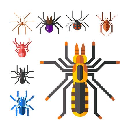 Spider web silhouet spinachtige angst grafische vlakke eng dierlijk ontwerp. Stock Illustratie