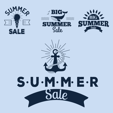Summer sale clearance vector badges, hand drawn advertising labels illustration.