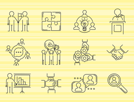 Business teamwork thin line icons.
