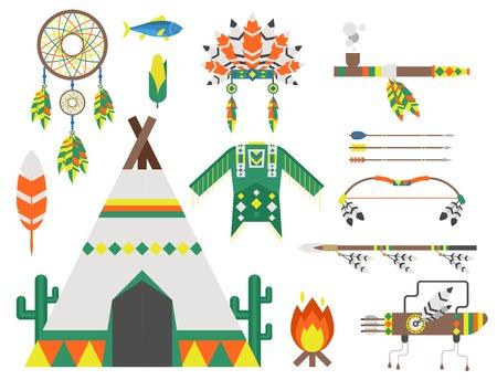 Wild west american indian designed element traditional art concept and native tribal ethnic feather culture vector illustration. Ilustração