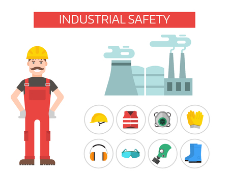 Safety industrial man gear tools flat vector illustration body protection worker equipment factory engineer clothing. Illustration