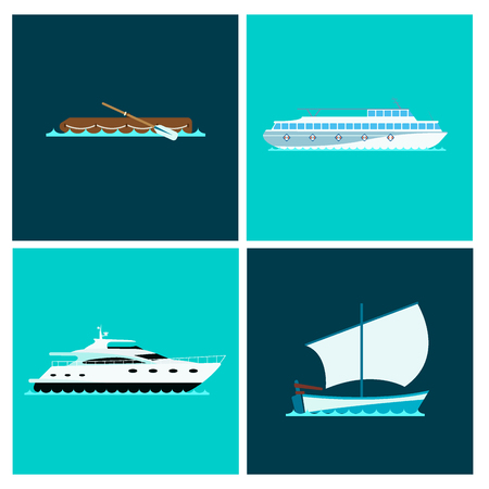 Ship cruiser boat sea brochure vessel travel industry vector sailboats cruise set of marine cards Banco de Imagens - 87866518