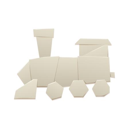 Origami logistic paper train transport concept original flat travel paper sheet transportation freedom vector illustration.