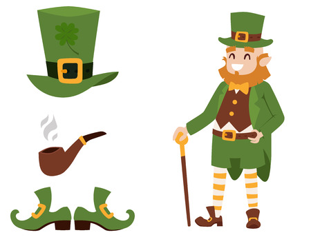 St. Patricks Day vector icons and leprechaun cartoon style symbols irish traditional decoration design vector illustration.