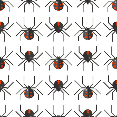 Spider web silhouette arachnid fear graphic flat scary animal poisonous design nature phobia insect danger horror tarantula halloween vector seamless pattern. Creepy warning symbol poison silhouette. Ilustrace