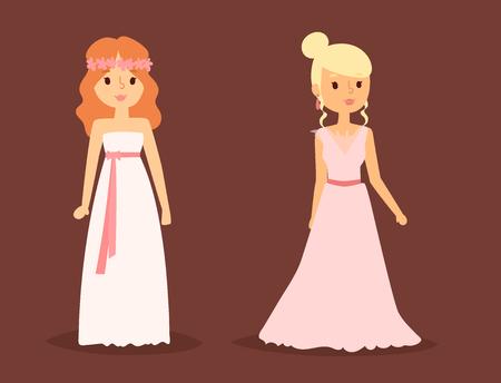 Art-Feier-Vektorillustration des Hochzeitskleides elegante. Mode Braut Frau Charakter Design in modernen Accessoires Silhouette gemacht. Urlaub Vektor Brautdusche Zusammensetzung. Standard-Bild - 87866627