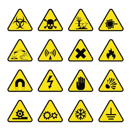 Prohibition signs set industry production vector illustration warning danger symbol forbidden safety information and protection no allowed caution information. Yellow risk sign