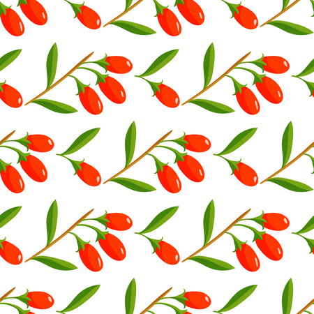 Vector berries seamless pattern with berry branches background illustration. Design for packaging, tea shop, drink menu, homeopathy and health care products.