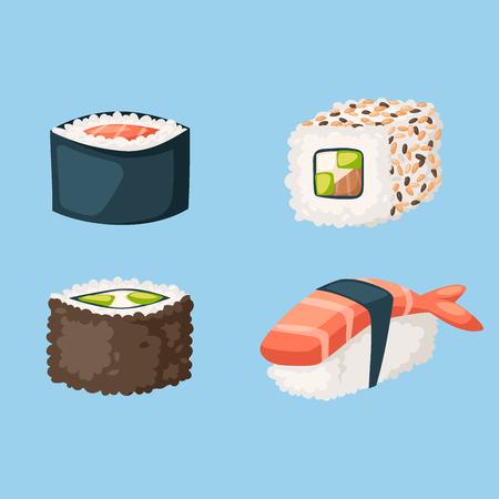Sushi cuisine japonaise cuisine traditionnelle plat sain icônes gastronomiques et restaurant oriental riz asie repas plaque culture rouleau vector illustration. Plat de régime de fruits de mer frais délicieux. Banque d'images - 87866637