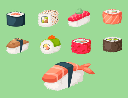 Sushi japanese cuisine traditional food flat healthy gourmet icons and oriental restaurant rice asia meal plate culture roll vector illustration. Fresh seafood diet dish delicious.