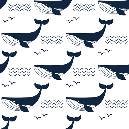Vector whale illustration aquatic animal seamless pattern background.