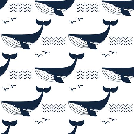 Wektorowego wieloryba ilustracyjnego nadwodnego zwierzęcia bezszwowy deseniowy tło.