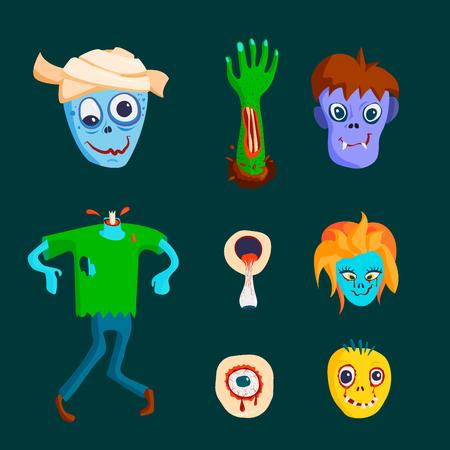 다채로운 좀비 무서운 만화 캐릭터와 마술 사람들 신체 일부 만화 재미. 귀여운 녹색 괴물 다른 식 벡터 그림입니다.