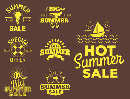Summer sale icon. Clearance element vector advertising badges isolated. Some shopping big mega hand drawn collection of labels. Set of comic speech bubbles stickers.