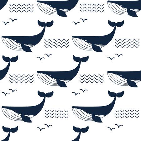 고래 그림 수생 동물 패턴 배경입니다.