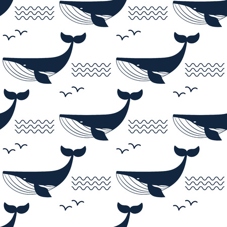 Whale illustration aquatic animal pattern background.