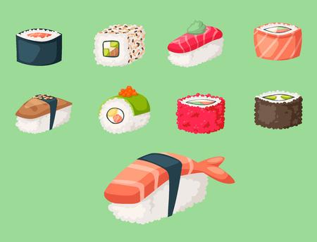 Iconos gastrónomos sanos planos de la comida tradicional japonesa de la cocina del sushi y ejemplo asiático del vector del rollo de la cultura de la placa de comida del arroz oriental del restaurante. Plato de dieta de mariscos frescos delicioso. Foto de archivo - 87895542