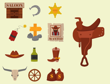 Vintage western cowboys vector signs american symbols vintage old designs cartoon icons illustration.