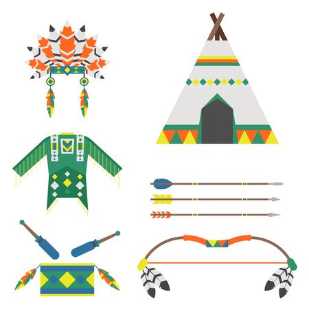 Wild west american indian designed element traditional art concept and native tribal ethnic feather culture ornament design vector illustration. Vintage abstract aztec decoration Ilustração