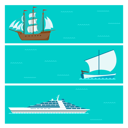 Ship cruiser boat sea brochure vessel travel industry vector sailboats cruise set of marine cards