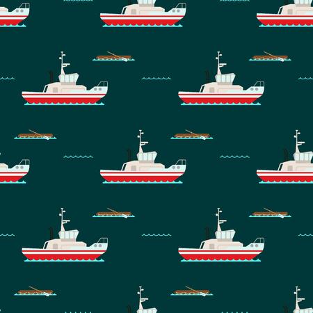 Schip kruiser boot zee naadloze patroon vaartuig reizen industrie vector zeilboten cruise. Mariene commerciële ontwerpachtergrond. Export van watertransport voor zakenreizen.