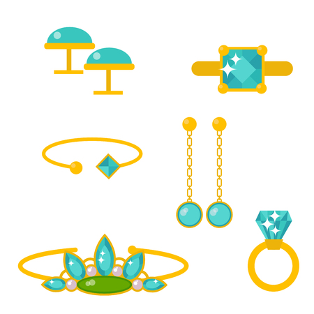 Vector joyas artículos oro elegancia piedras preciosas accesorios moda ilustración Foto de archivo - 87966597