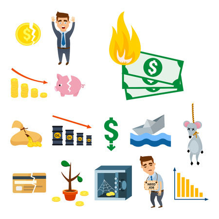 Crisis symbols concept problem economy banking business finance design investment icon vector illustration. Money collapse depression credit economic.