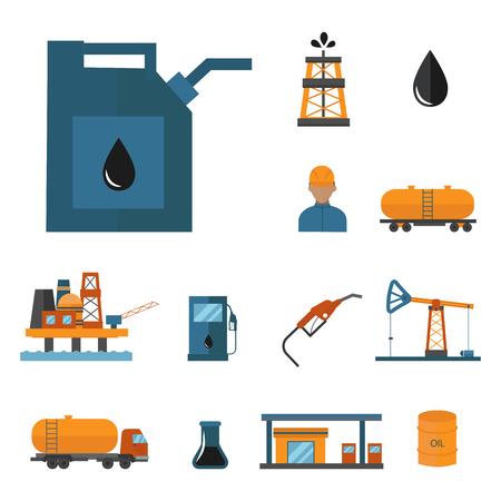 Van de de productieexport van de mineraalolieaardolie van het de vervoersfabriek de logistische vectorillustratie van apparatuur vectorpictogrammen. Energie verwerkingsplatform. Aardolie-industrie technologieontwerp. Stock Illustratie