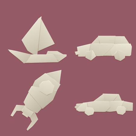 Origami logistic paper transport concept original flat travel paper sheet transportation freedom vector illustration. Vektoros illusztráció