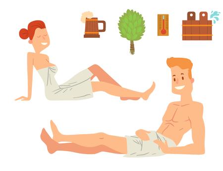 명상 휴식 문자를 받아 벡터 목욕탕 샤워 몸과 얼굴을 씻어 목욕 스팀 걸릴 목욕 사람 일러스트
