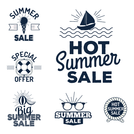 Summer sale logo clearance element vector advertising badges isolated.