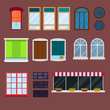 Different types house windows elements isolated set flat style vector illustration.